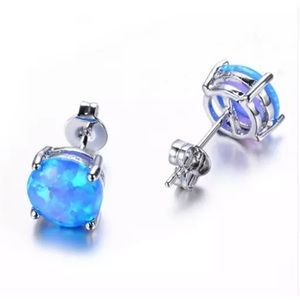 New! ❤️ Blue Fire Opal and silver earring studs